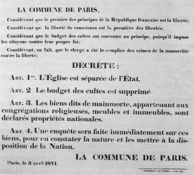Décret de séparation des Églises et de l'État, 2 avril 1871