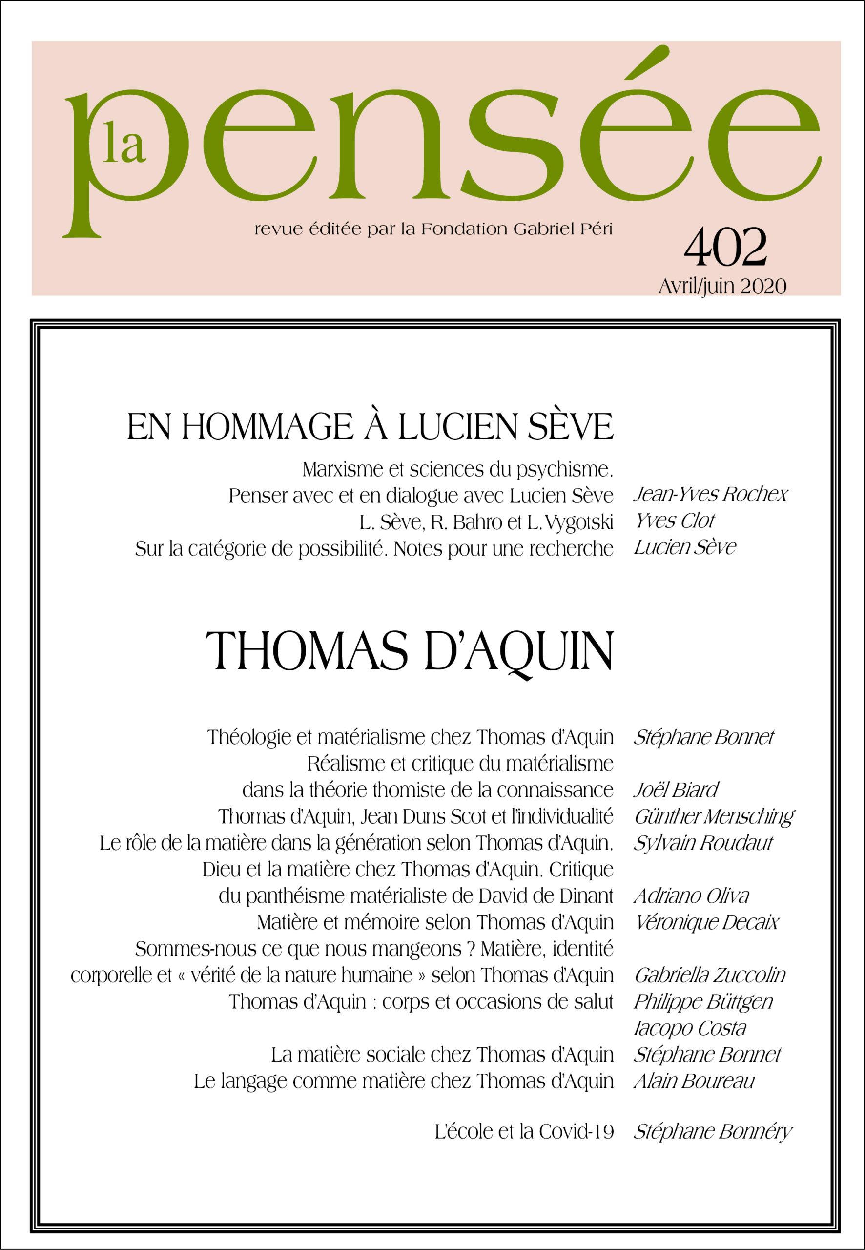La Pensée n° 402 – Thomas d'Aquin