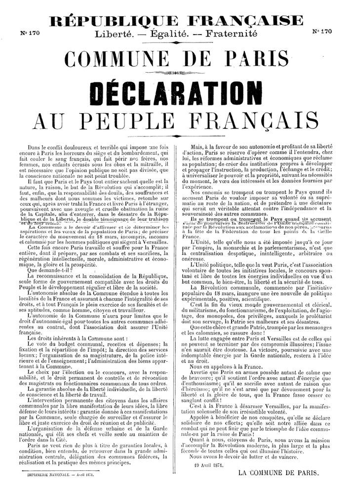 Déclaration au peuple français du 19 avril 1871