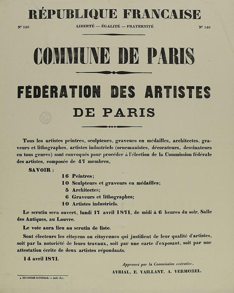 Programme de la Fédération des artistes