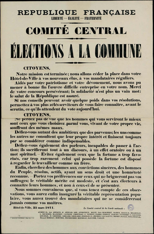 Proclamation du 25 mars 1871 pour les élections à la Commune