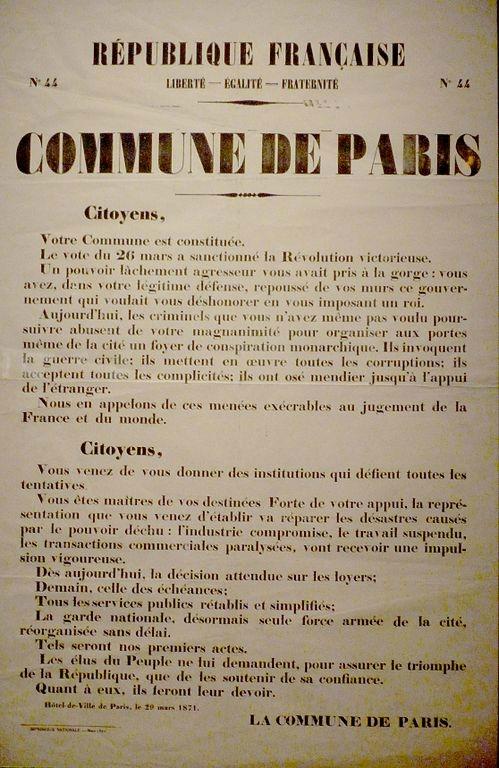 Constitution de la Commune de Paris, 29 mars 1871