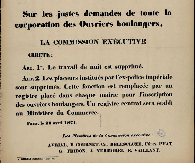 La suppression du travail de nuit pour les ouvriers boulangers, 20 avril 1871