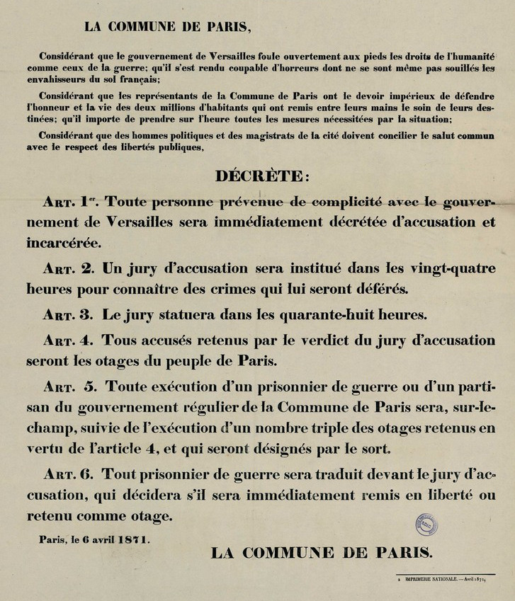 Proclamation aux citoyens de Paris concernant les prisonniers de guerre et décret y relatif, 5 avril 1871