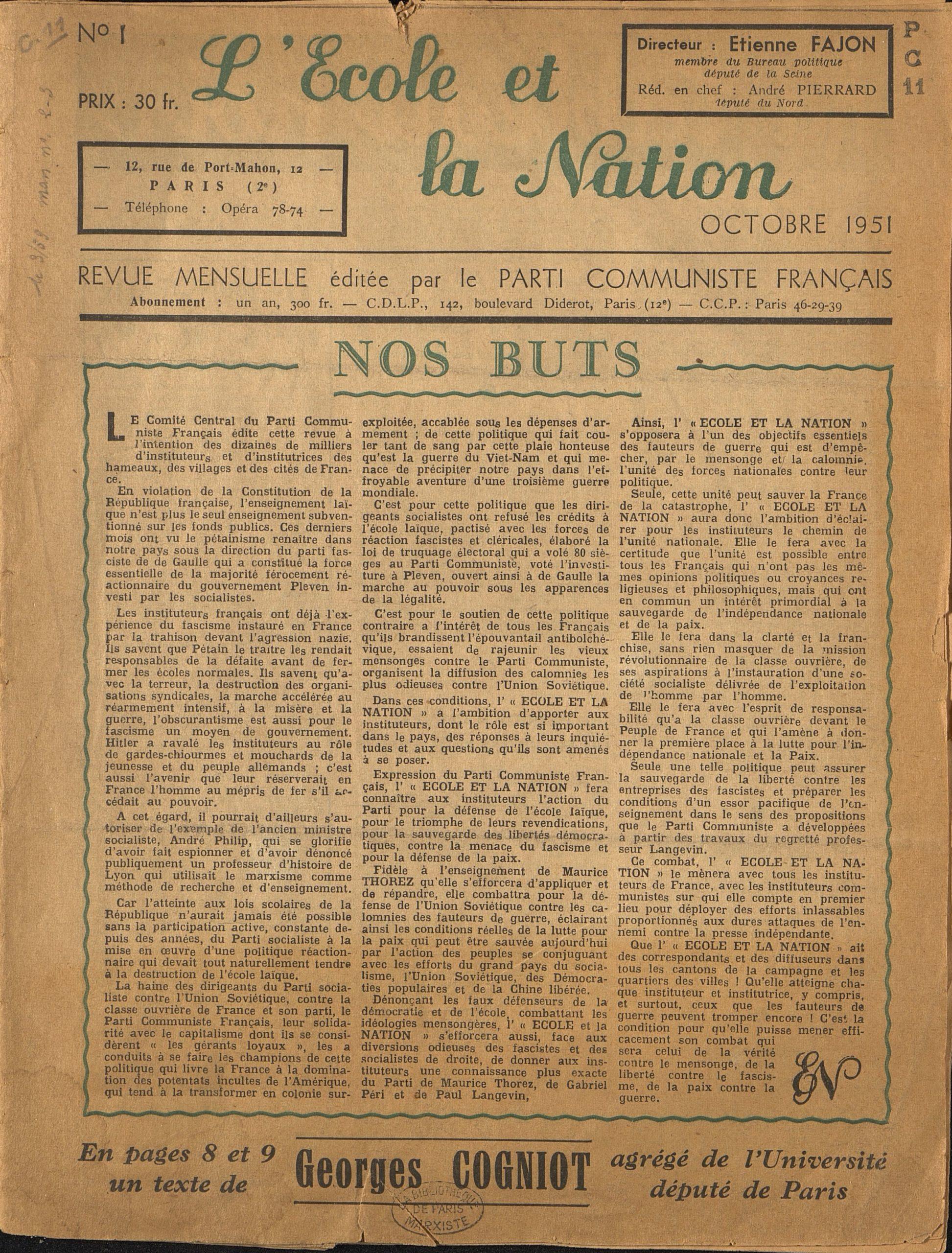 Étudier la collection numérisée de «L'École et la Nation» dans son contexte: le cas de sa création en 1951