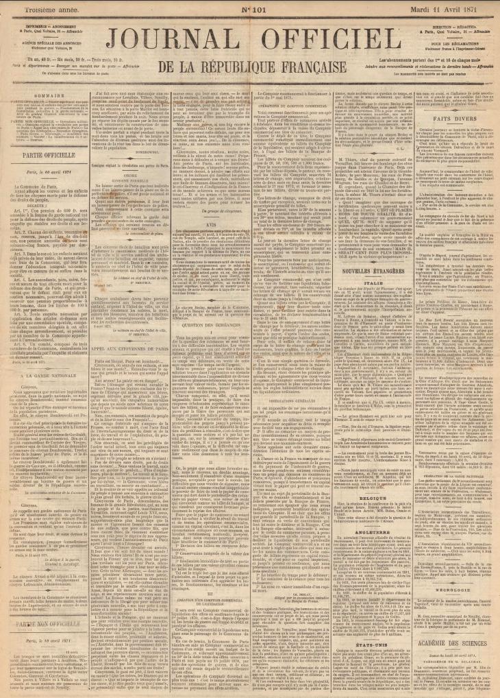 Appel aux citoyennes de Paris, 10 avril et Adresse des citoyennes, 14 avril 1871