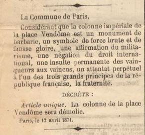 Décret ordonnant la démolition de la colonne de la place Vendôme, 12 avril 1871
