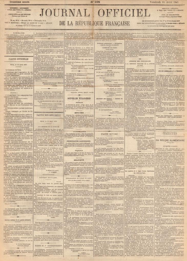 Décret organisant des compagnies d'ambulances, 13 avril 1871