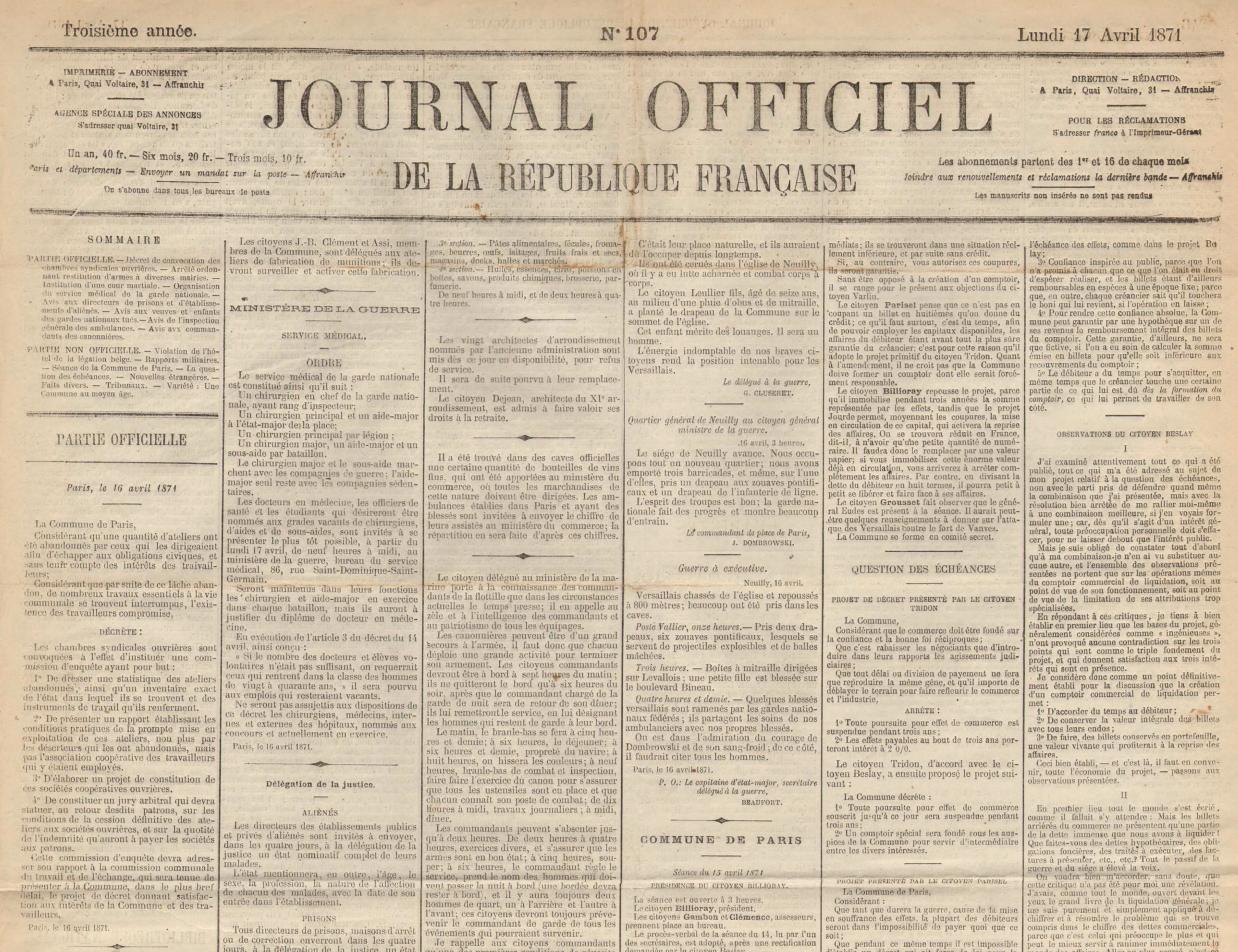 Décret de convocation des chambres syndicales ouvrières, 16 avril 1871