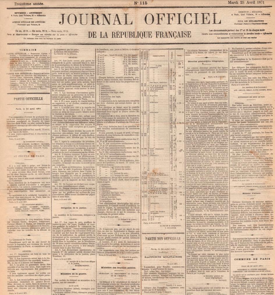 Décret sur la réquisition des logements vacants, 25 avril 1871