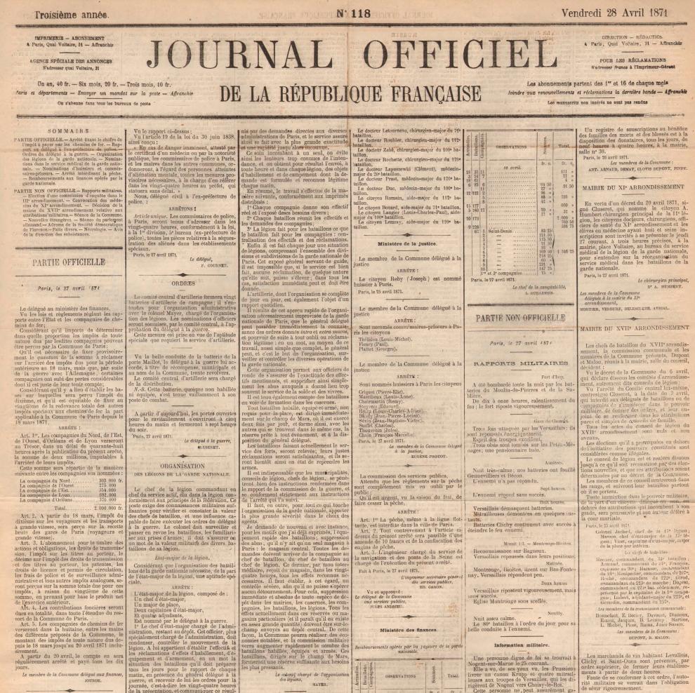 Arrêté fixant le chiffre de l'impôt à payer par les chemins de fer, 27 avril 1871
