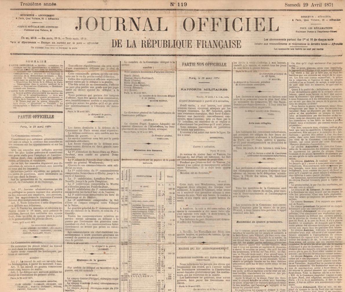 Arrêté interdisant les retenues sur les appointements et salaires, 27 avril 1871