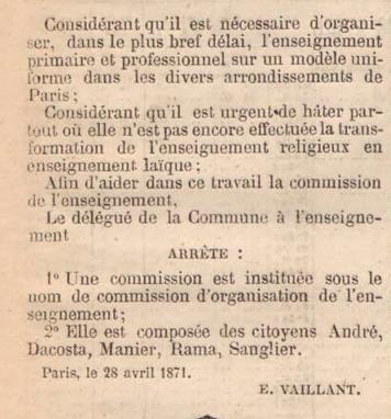 Arrêté instituant une Commission d'organisation de l'enseignement, 28 avril 1871