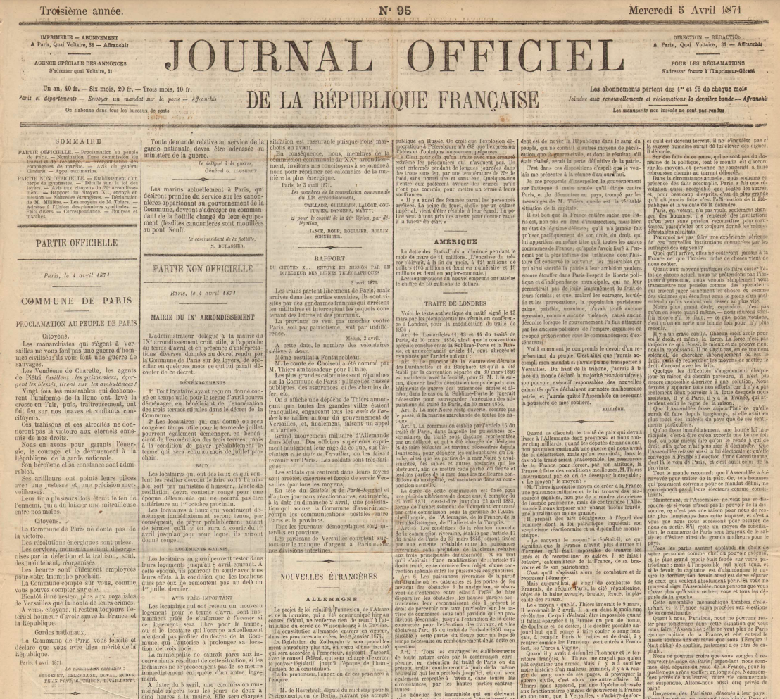 Proclamation au peuple de Paris, 4 avril 1871