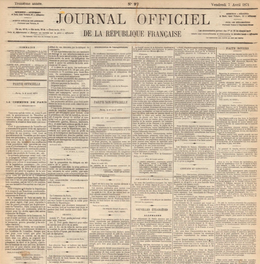 Proclamation de la Commune de Paris aux départements, 6 avril 1871