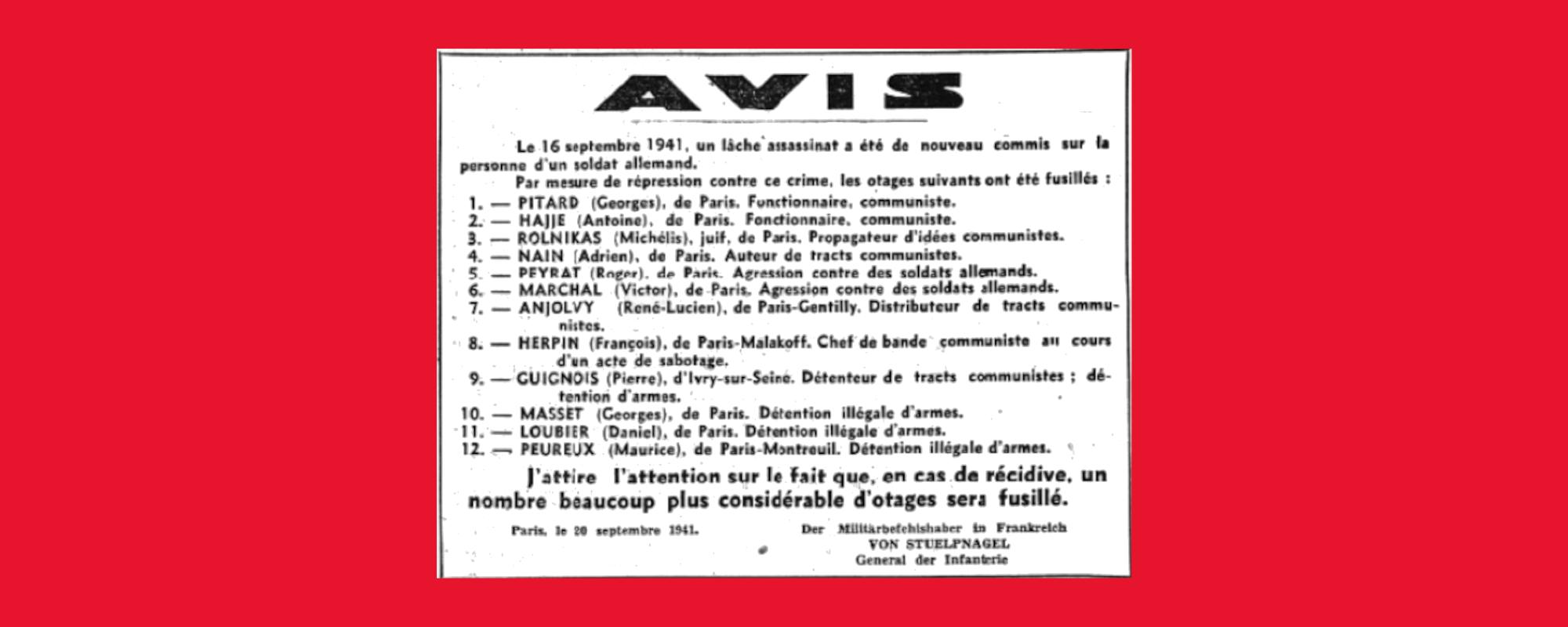 La politique des otages en France sous l'Occupation. 80e anniversaire des premières exécutions d'otages.